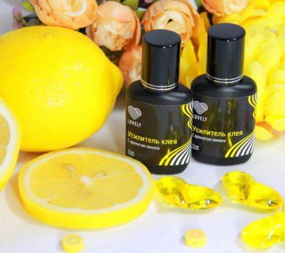 Усилитель клея для наращивания ресниц Lovely с ароматом лимона (15 мл)